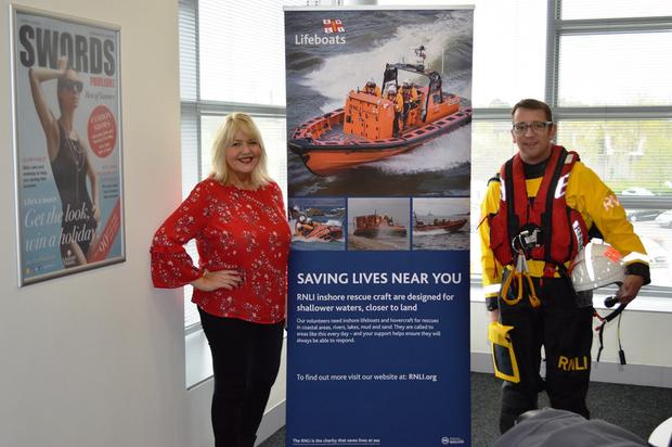 Deirdre King, Marketing Manager for Swords Pavilions with Skerries RNLI volunteer crew member Joe May launch the charity partnership between the centre and the RNLI.