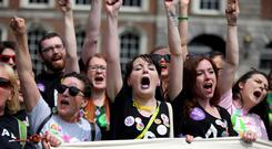 Celebrating the 8th amendment being repealed at Dublin Castle. Picture:Mark Condren