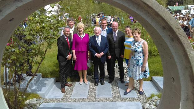 Chief Executive of Fingal County Council Paul Reid, Sabina Higgins, President Michael D Higgins, Designer Lawrence Colleran, Senior Parks Superintendent Kevin Halpenny, Designer Jane Corkrell and Mayor of Fingal, Cllr Mary McCamley at the Greener Way for Fingal Garden in Bloom at the Park