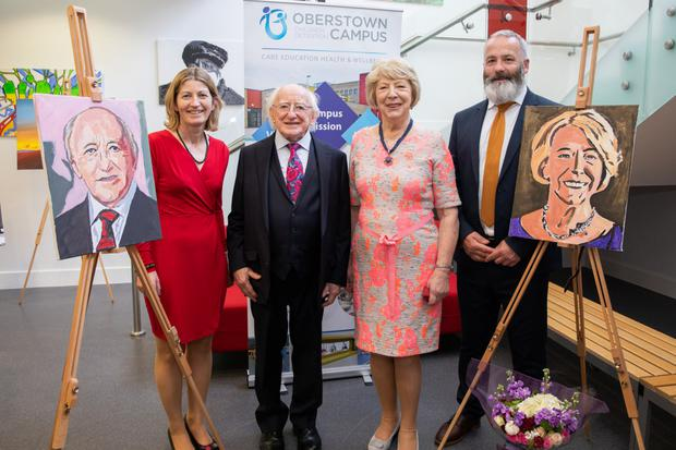 Pictured at the ceremony where both the President and his wife Sabina were presented with portraits created by some of the young people to mark his visit to the campus was from left: Ursula Kilkelly, Chair of the Board of Oberstown, President of Ireland Michael D. Higgins, Sabina Higgins, and Damien Hernon, Deputy Director Head of Operations Oberstown