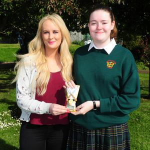 Sarah Byrne and Lucy Blacker at the annual prize giving awards at Swords Loreto