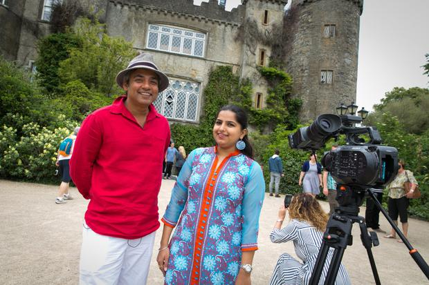 Former India cricketer Ajay Jadeja (left) with Kavya Chawla, Tourism Ireland, during filming at Malahide Castle