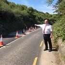 Cllr Tom O'Leary at narrow path on Balbriggan Road he says is a 'serious health and safety issue'.