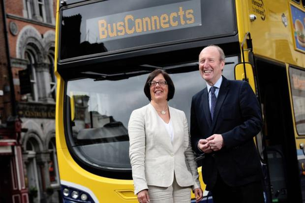 Minister for Transport, Sport and Tourism Shane Ross and Anne Graham, Chief Executive Officer of the National Transport Authority at the launch of the Bus Connects plan