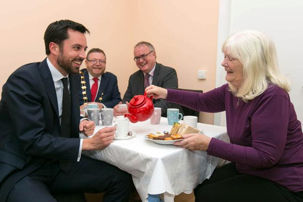 Pauline Downes, a resident of St Benedicts, Malahide welcomed Minister Eoghan Murphy to her home when the Minister officially opened the second phase of the housing scheme. Also pictured are Mayor Anthony Lavin, Fingal County Council and Liam Casey, East Regional President, Society of St Vincent de Paul. Picture by Shane O'Neill, SON Photographic