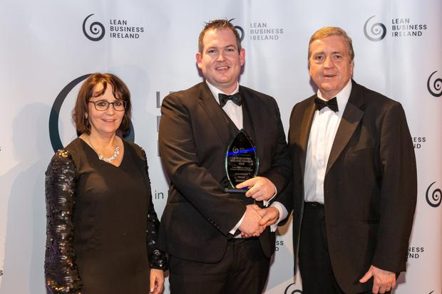 Pictured here at the Lean Business Ireland Awards are Jason Casey, Operations Manager at Ardmac, with Minister of State Pat Breen and category sponsor Irene Power from Lean Business Ireland