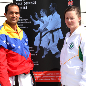 Sorcha McCorry (right) and her fellow karate athlete instructor husband, Francisco Astudillo