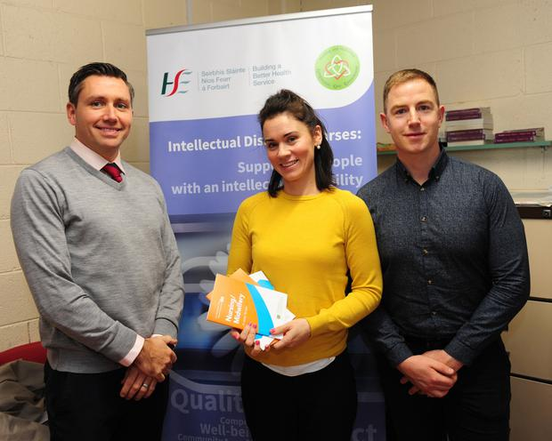 Damien Darcy, Catherine Fitzpatrick and Niall Frank at the Careers Fair in Portmarnock Community School