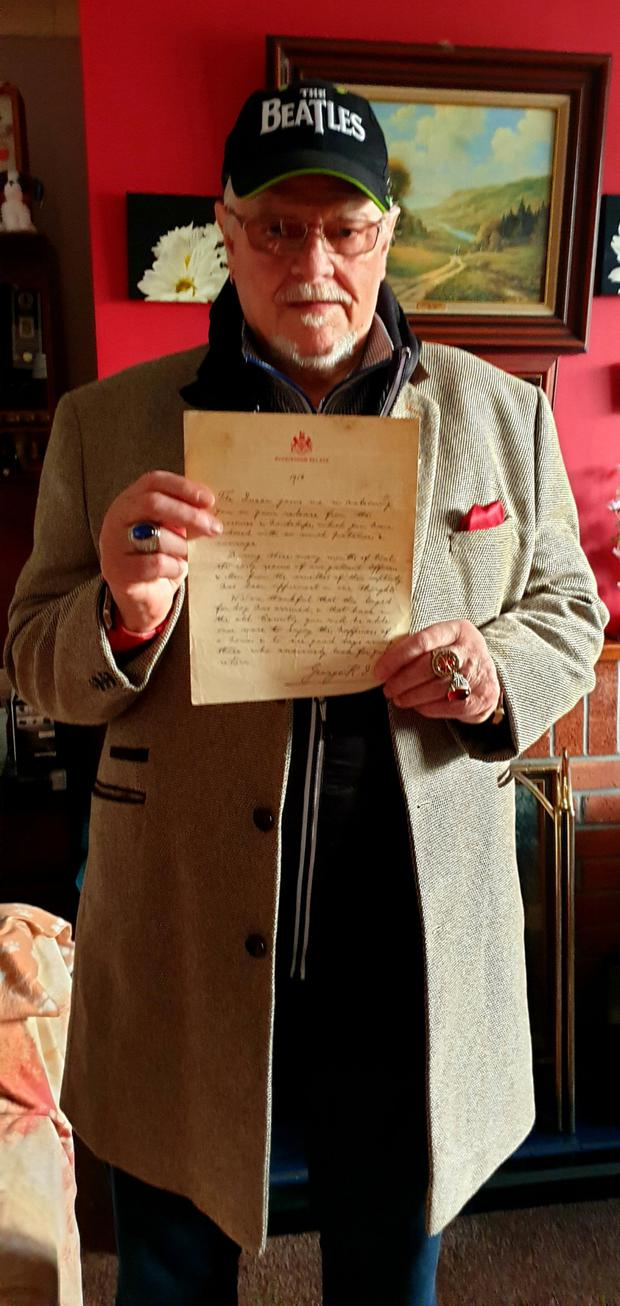 Sean Francis Byrne with his prized letter from King George V