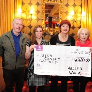 Dominick Harris, Brenda McCarthy Irish Cancer Society, Margaret Harris and Cathleen Corby at the handover of cheque for River Valley Walk in Peacock's