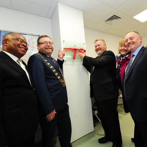 Okezi Emuaga, Fingal Mayor Anthony Lavin, Senator James Reilly, Chief Officer Mary Walsh, Cllr Tom O'Leary and Des O'Flynn Head of Services Primary Care