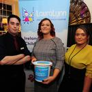 Denis Ginnane, Stephanie Lonergan and Jade Harris at the Shave or Dye for LauraLynn in the Old Borough Pub, Swords