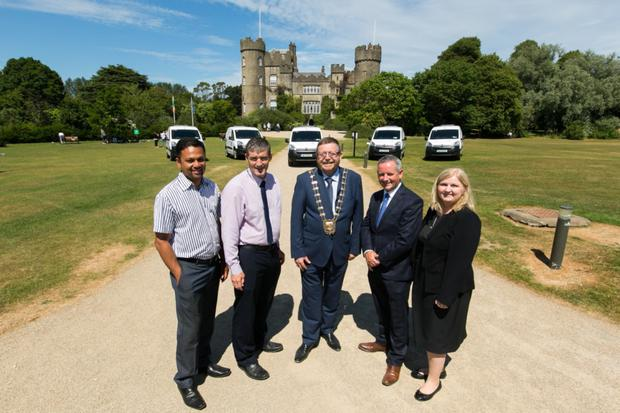 Fingal County Council Senior Executive Engineer, Joseph Mandolil, Director of Operations, David Storey, Mayor of Fingal, Cllr Anthony Lavin, Chief Executive of Fingal County Council, Paul Reid and Senior Engineer Karen Gallagher at the launch of Fingal's Electric Vehicles in Malahide Castle