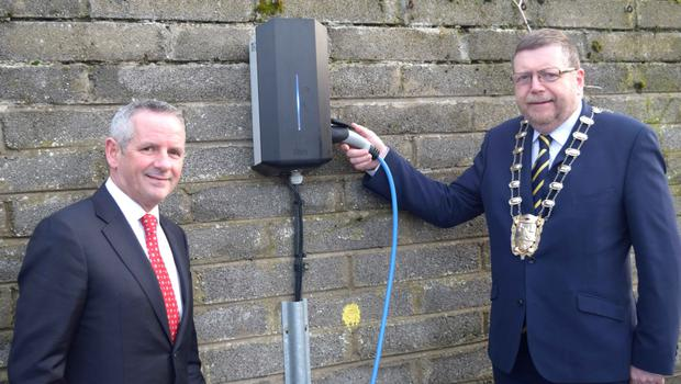 Council Chief Executive, Paul Reid and Cllr Anthony Lavin getting ready to charge up