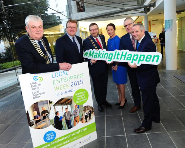 Fingal Chamber President Jock Jordan, Oisin Geoghegan, Fingal Mayor Anthony Lavin, Eimear O'Gorman Director of Services for Economic Enterprise and Tourism Development, CEO Fingal Chamber Anthony Cooney and Chief Executive Fingal County Council Paul Reid