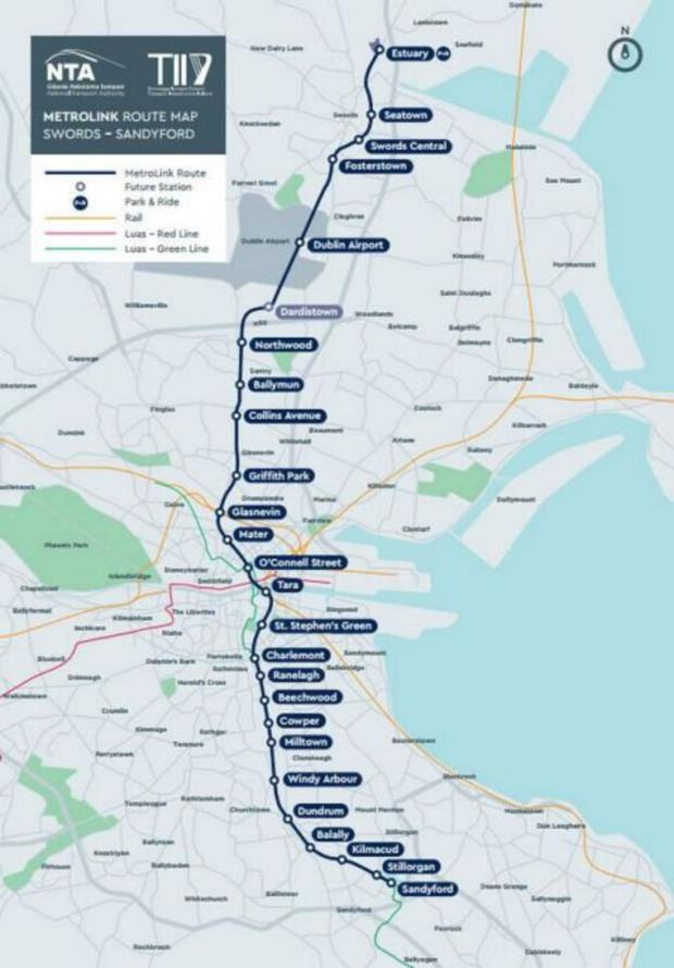 Proposed route for Metrolink