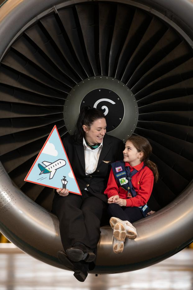 First Officer Rachel Passmore; and Alicia Losty (8) (Ladybird); at the announcement that Aer Lingus has partnered with the Irish Girl Guides to create the 'Aviation Badge'
