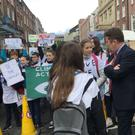 Deputy Darragh O'Brien TD listens to the points made by Donabate/Portrane ETNS on climate change