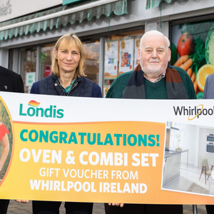 Declan Boyle, Londis Regional Manager, Rufina Shiel, Shiel's Londis PLUS Malahide with winner Liam Phelan; and John Shiel also from Shiel's Londis Malahide