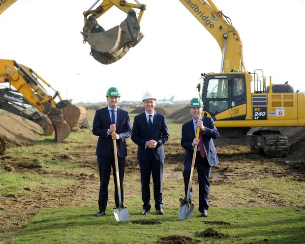 Taoiseach Leo Varadkar, daa CEO Dalton Philips and Minister for Transport, Shane Ross turning the sod on the new North Runway at Dublin Airport