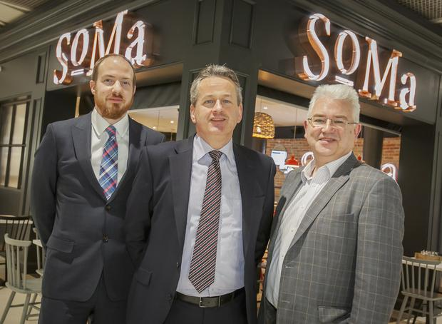Dublin Airport Food & Beverage Manager Daniel Saunders, KSG Chief Executive Michael Gleeson and Dublin Airport Managing Director Vincent Harrison at the opening of SoMa restaurant in Terminal 1.