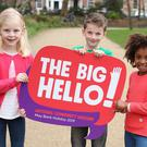 Pictured at the official launch of the Big Hello were Lauren Keane (aged 7), Bill O'Herlihy (8) and Janelle Mukiza (7). Pic: Marc O'Sullivan