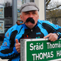 Dermot Higgins as 'Thomas Hand' on the street in Skerries named after him