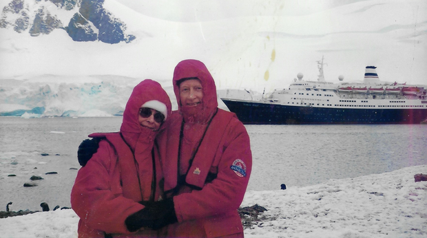Monica Brosnan and her beloved late husband, Bill on their trip to Anarctica