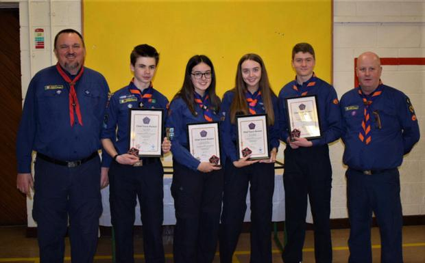 Fingal County Commissioner Thomas Martens, Chief Scouts Award recipients Sam Lynch, Suzanne Kavanagh, Emma Delaney, Robert White and River Valley Scout Leader Vinny Ball