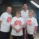 L-R, Matt Cullen, from Swords, who appears in a newly-launched yoga exercise DVD for people with lung fibrosis produced by the Irish Lung Fibrosis Association, is pictured with Pamela Martin, Dublin GAA footballer and yoga instructor, Michael Darragh Macauley, and Evelyn Cooper