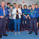 Portmarnock Scout Group Leader Peter O'Kelly and Dublin Airport Head of External Communications Siobhán O'Donnell at the opening of the new climbing wall in the 120th Portmarnock Scouts Den