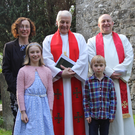 New Rector in Swords, Rev Neill Phair (right) with his wife, Dr Lucy Jessop and their children with Archbishop Michael Jackson