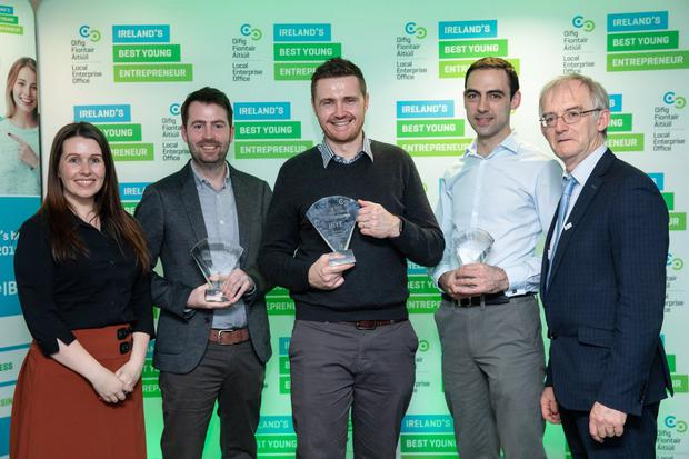 Claire MacNamee, LINC Manager, Winner of Best Business Idea, Graham Brocklebank, Winner of Best Start-Up, Ciaran Brennan, Livecosts.com, runner up in the Best Business idea, Mark Sweetman, NavChain and Diarmuid O'Gallaghan, Principal, TU Dublin. (pics by Orla Murray/SON Photo)
