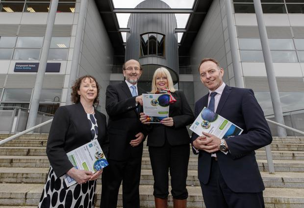 Professor Lisa Looney, Executive Dean of DCU Faculty of Engineering & Computing and Professor Brian MacCraith, DCU President are pictured with Minister for Higher Education, Mary Mitchell O'Connor, TD and Paul Healy, CEO Skillnet Ireland at the launch of two new Masters