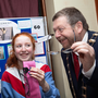Ava Gilmartin with the Mayor of Fingal, Cllr Anthony Lavin trying out her invention
