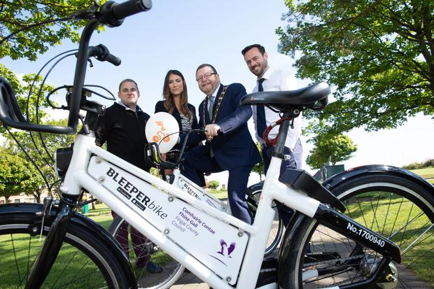 Hugh Cooney (Bleeperbike), Niamh Russell (Fingal), Cllr Anthony Lavin (Mayor) and Andrew Nolan (Fingal)