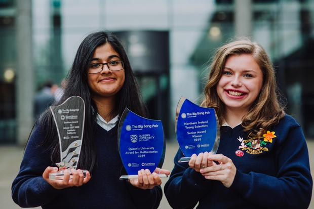 Pictured with their awards from The Big Bang Fair NI incorporating Sentinus Young Innovators are Loreto College, Balbriggan pupils Zainab Shahid (left) and Katie Caffrey. Their respective project partners were unable to attend the event