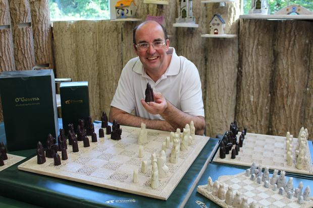 Philip Gaffney with the chess set commissioned for the British Museum