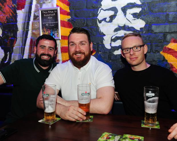 Steven McLoughlin, Robbie Finnegan and Dave Donnelly at The Complete Stone Roses in the Chalk Venue, Swords