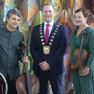 Mayor of Fingal Cllr Eoghan O'Brien with Duo Chagall's Gillian Williams and Arun Rao who will be returning with their popular Autumn Sounds classical music series in September