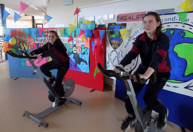 Donabate Community College students raising awareness of the suicide issue with their nine hour Bike4Life Cyclathon