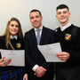 Ami Riordan, School Principal Emmet Sheridan and Simon Connolly receiving their Junior Cert Results at Balbriggan Community College