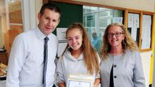 Loreto Swords principal, Peter McNamara was able to celebrate with students and parents in person last year, as pictured above, but this year, the Leaving Cert results process was very different