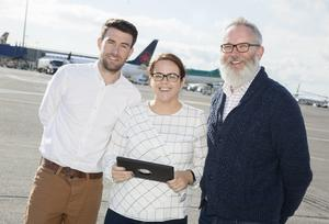 Dublin Airport Airfield Facilities Manager David Toolan; Airfield Asset Care Business Support Deborah White and Spatial Data Manager Morgan Crumlish test the new app on the airfield at Dublin Airport