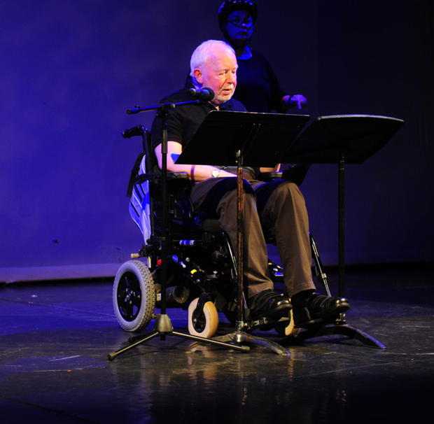 Brian Brophy performing his original theatre piece at the special showcase featuring work developed as part of an inclusive initiative