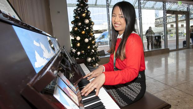 Dublin Airport Graduate Project Officer Operations, Audrey Chew is the first person to play Dublin Airport's new public piano