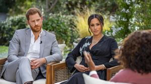 Harry and Meghan pictured with interviewer Oprah on the CBS Primetime Special