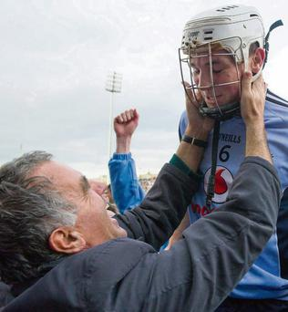 Former Dublin manager Humphrey Kelleher celebrates with Liam Rushe after the game. Daire Brennan / SPORTSFILE