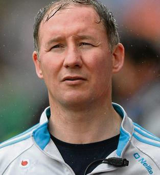 Jim Gavin, Dublin manager, during the game. Leinster GAA Football Senior Championship, Semi-Final, Kildare v Dublin, Croke Park, Dublin. Picture credit: David Maher / SPORTSFILE
