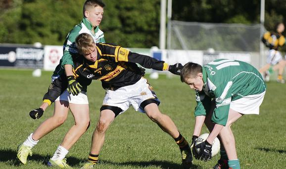 O'Dwyer's Peter Lawless and Eoghan Richardson combine to dispossess Geraldines P Morans' Mark Thunness.